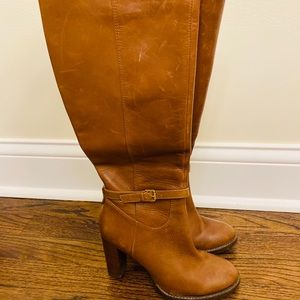 Knee length leather boots